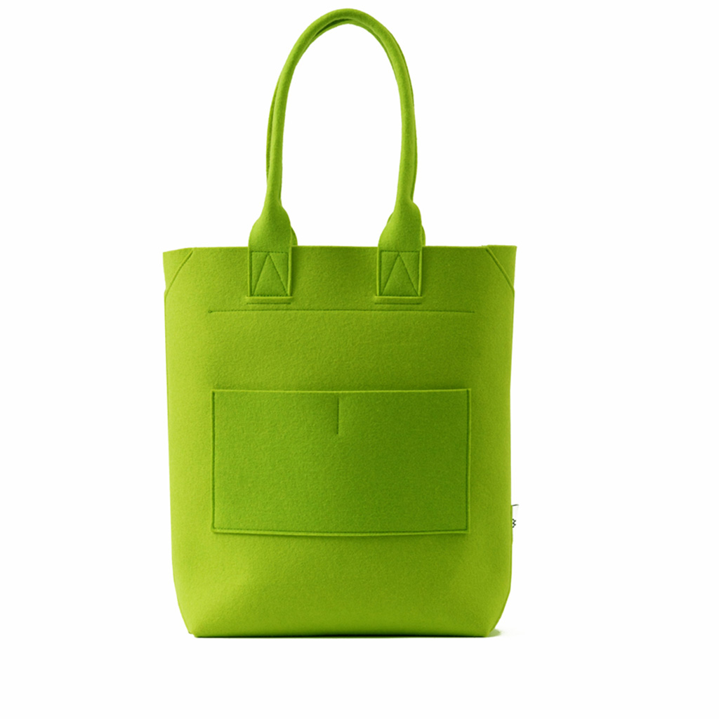 Lime green tote bag, feltum with mexico design time