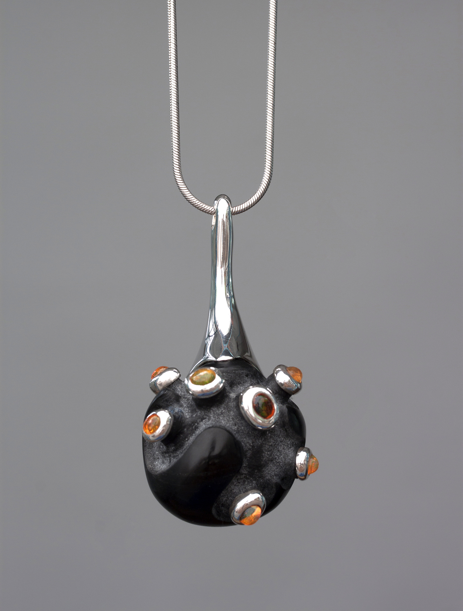 obsidian, fire opals, silver, pendant with marion friedmann gallery