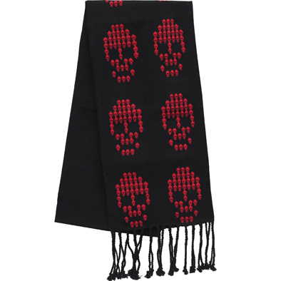 SCARF - red large skulls on black - handwoven