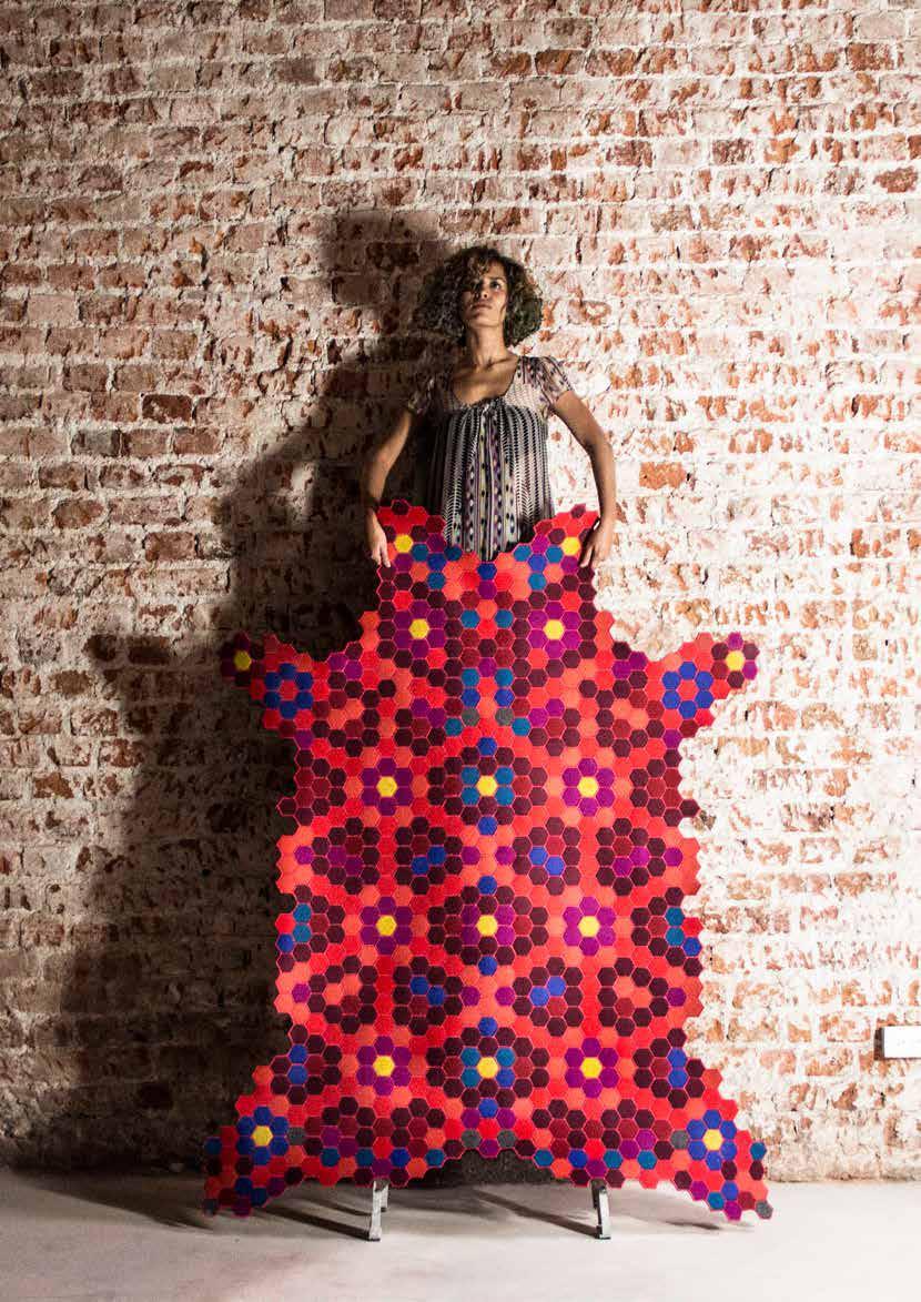 Huichol-tapestry-red-felt-handstiched-blue-ElissaMedina-MarionFriedmannGallery.jpg