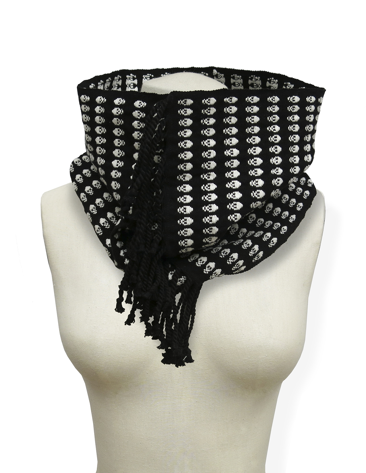 NECKPIECE - white skulls on black - handwoven - Chiapas