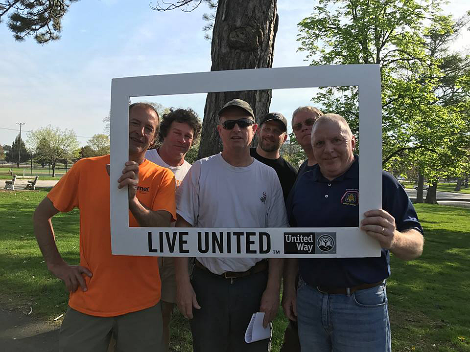 Carpenters participate in the United Way Day of Caring.
