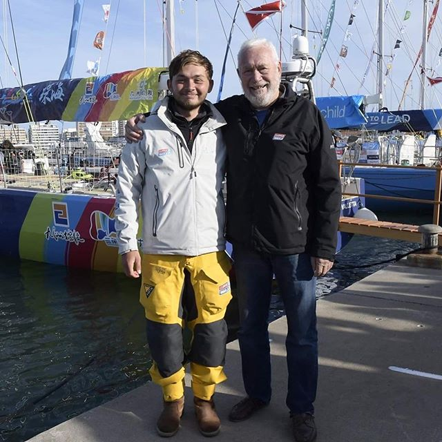 """So, the teamArchie Clipper Race bursary has delivered - Callum has done it! Six weeks and 7,250 miles after leaving London, Callum and Zhuhai crossed the finish line off the coast of Uruguay on Sunday. A pretty brutal run in by the sound of it, with lightning, heavy rain and massive squalls in the final days – a boat close to Zhuhai reported a gust of 86mph (that's Force 11 for those of you who know your Beaufort scales…). He was greeted off the boat by Sir Robin Knox-Johnston, legendary round-the-world yachtsman and Clipper Race founder.  We haven't caught up with Callum properly yet (deserved cold beer and much-needed sail repairs are priorities right now) but he sent us this brief message on Sunday evening: """"James! What an experience! I would like to thank you and Claire and everybody involved for this experience. This has changed my life completely! I am deeply appreciative! Can't wait to catch up!"""" So, huge thanks to all our supporters for enabling teamArchie to make these sorts of things happen – we're so grateful! #walkbesidemeandbemyfriend"""