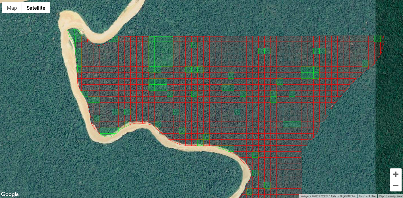 Los cuadritos verdes representan las hectáreas que ya están protegidas, y los rojos los que están todavía disponibles. Cómo bien se ve, aún quedan muchas hectáreas por proteger!