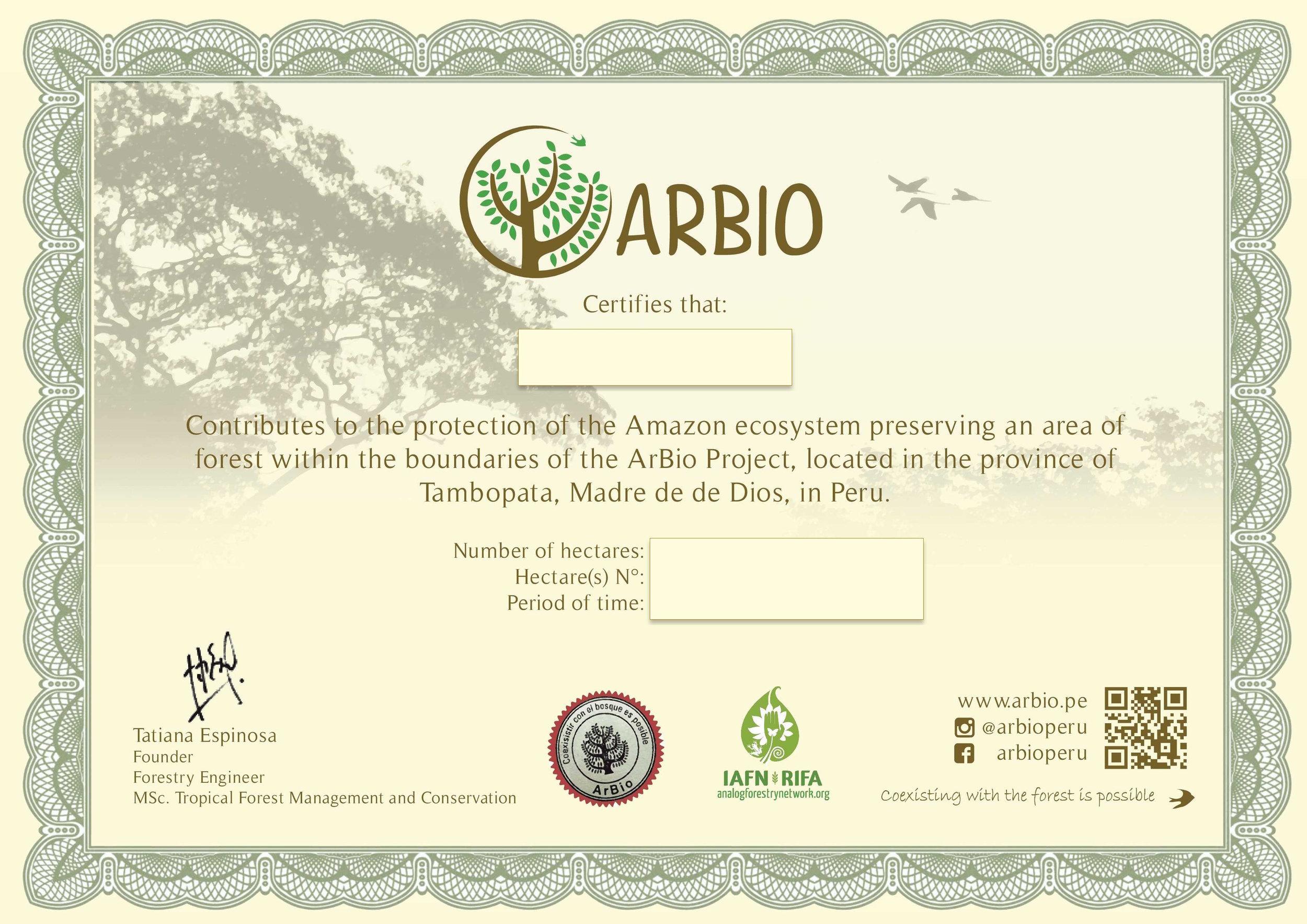 Para celebrar y recordar tu propia hectárea de la selva Amazónica peruana, ARBIO te manda un certificado como este!