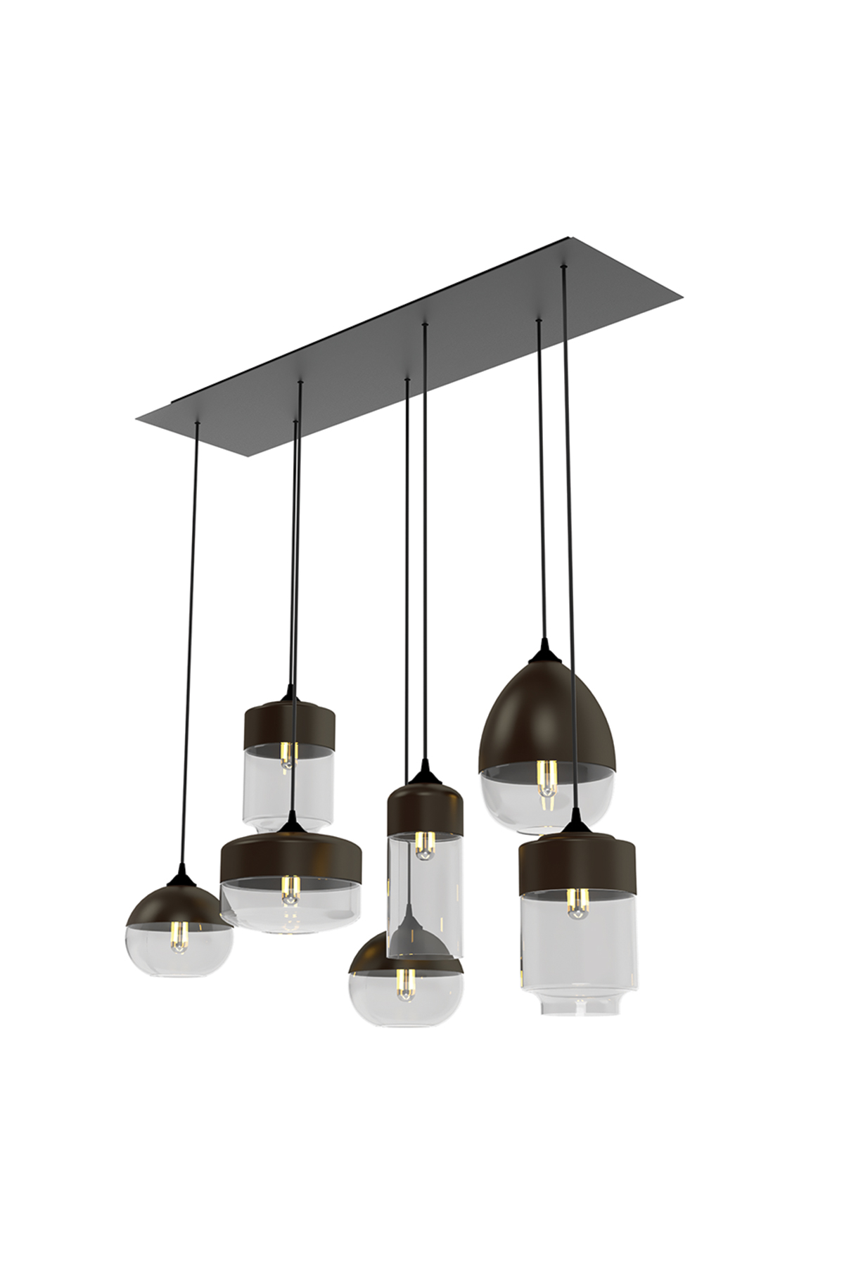 7 Light Rectangular Multi-Pendant Canopy - Product Spec Sheet ↓