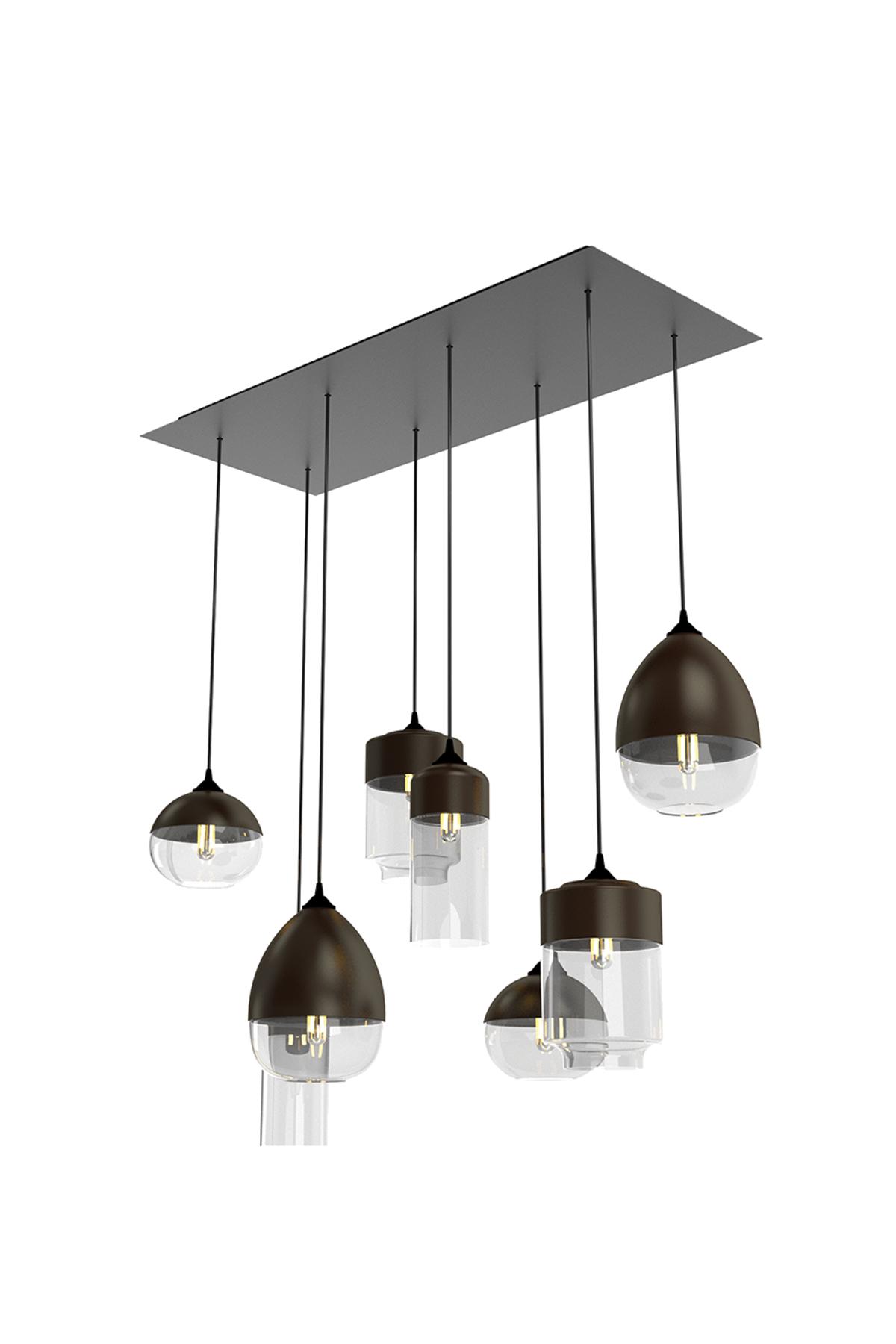 8 Light Rectangular Multi-Pendant Canopy - Product Spec Sheet ↓