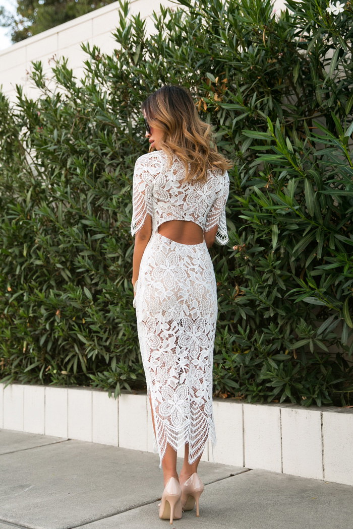 Stylish and graceful with a barely-there mystique, this lace number is perfection. -