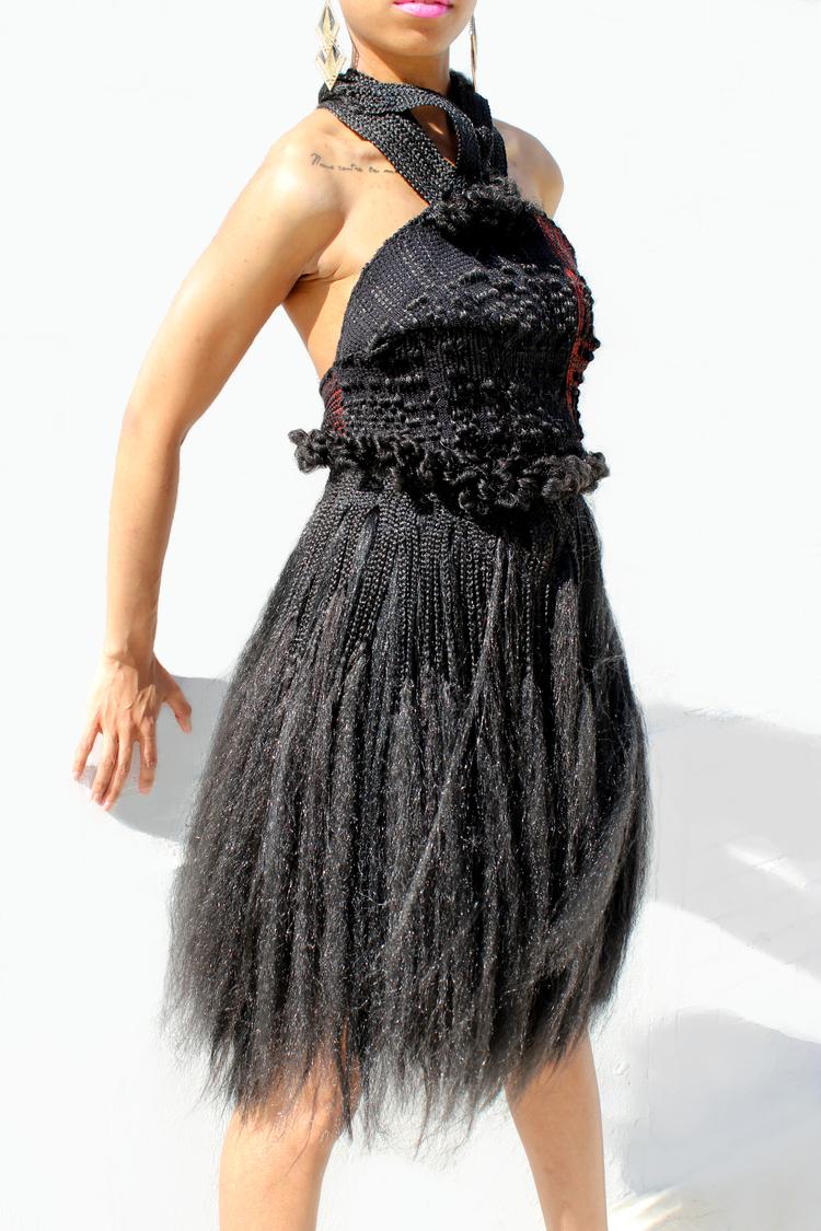 """Hair Dress  2013, 50"""" (L) X 15"""" (W), Cotton & synthetic-hair, Photographer: Sylvia Abisaab"""