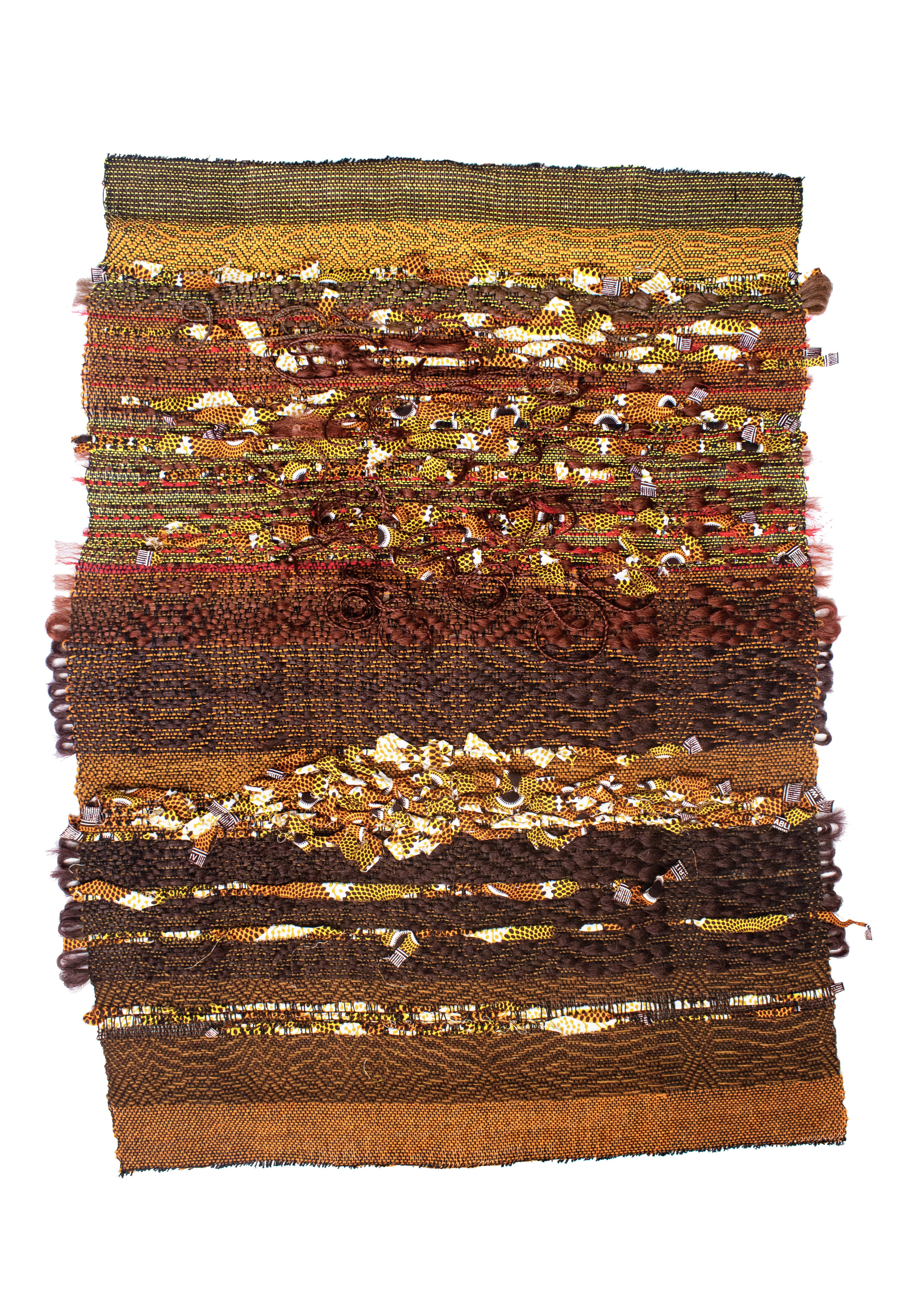 """Brown Sugar  2019, 27"""" (W) X 39"""" (L), Synthetic-hair, cotton, hitarget (GH) fabric, rayon, wool, & linen. Photographer: Kendra Powers"""