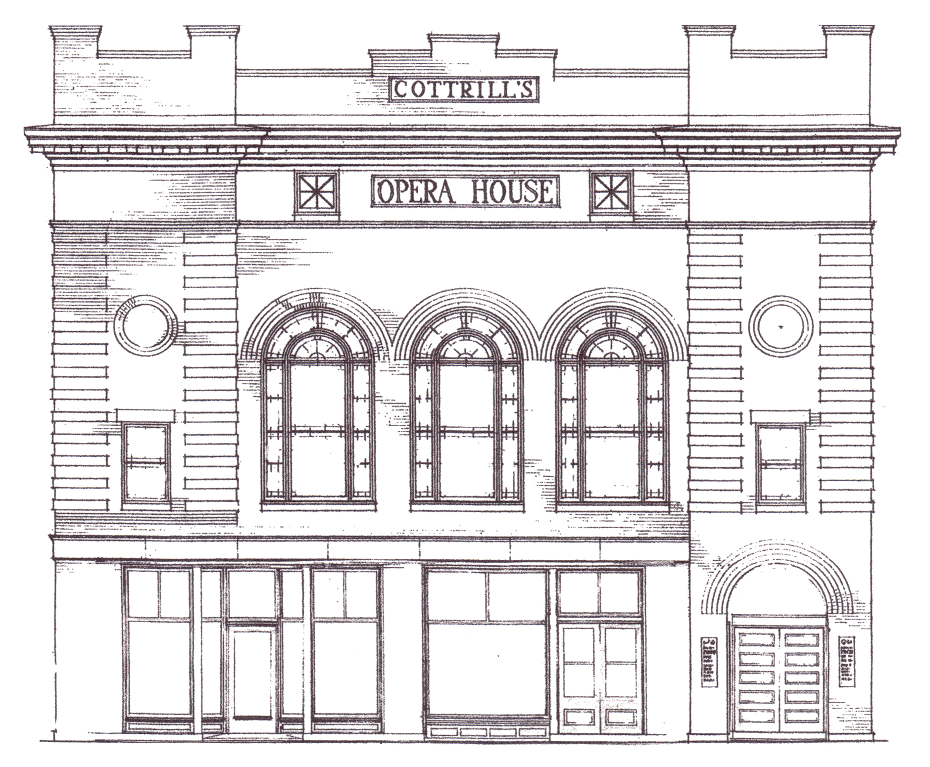 The historical façade of Cottrill's Opera House.