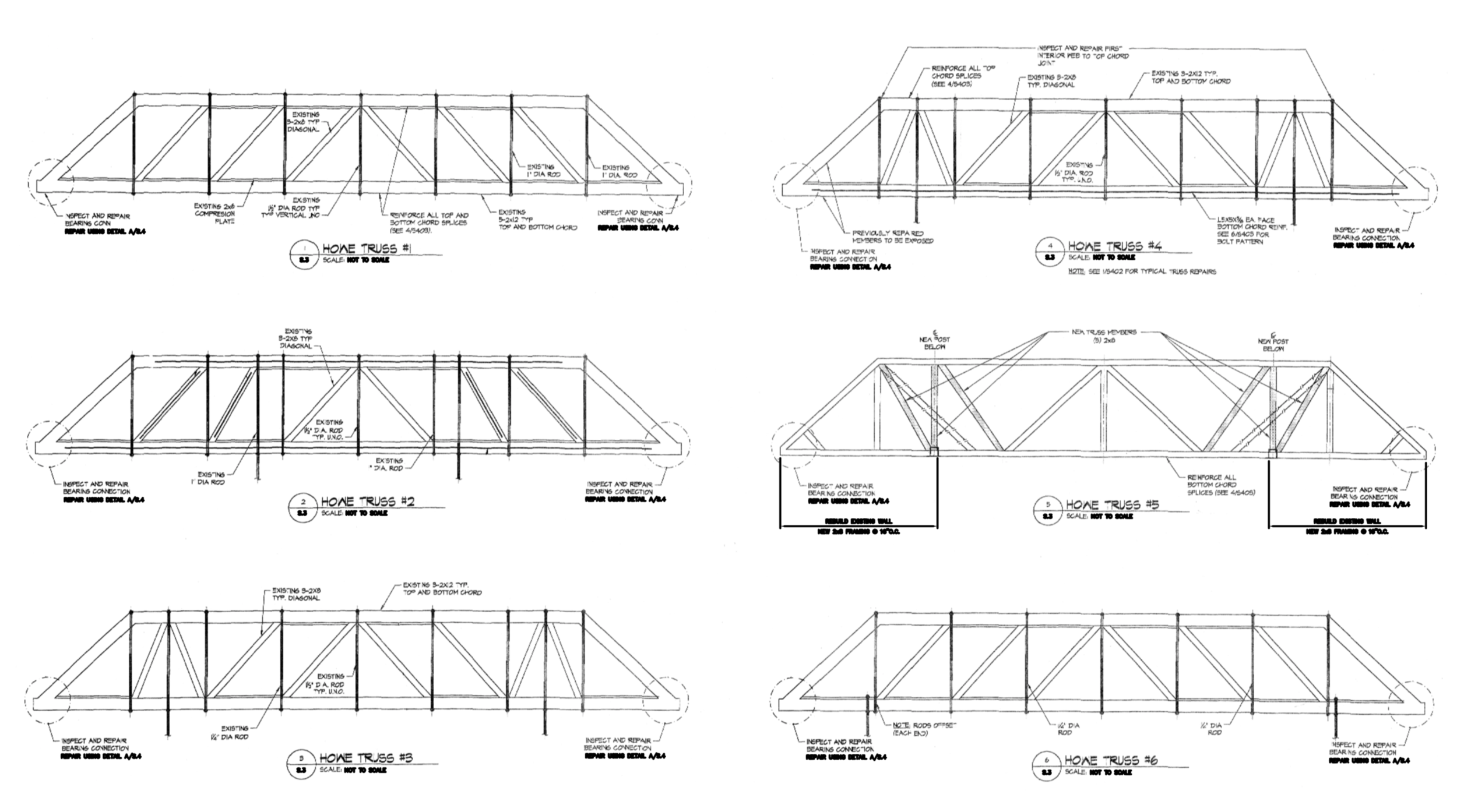 "Elevation drawings of the Opera House trusses from a structural integrity evaluation in 2013. The study concluded that the trusses are in ""overall very good condition,"" though repairs and maintenance remain to be done."