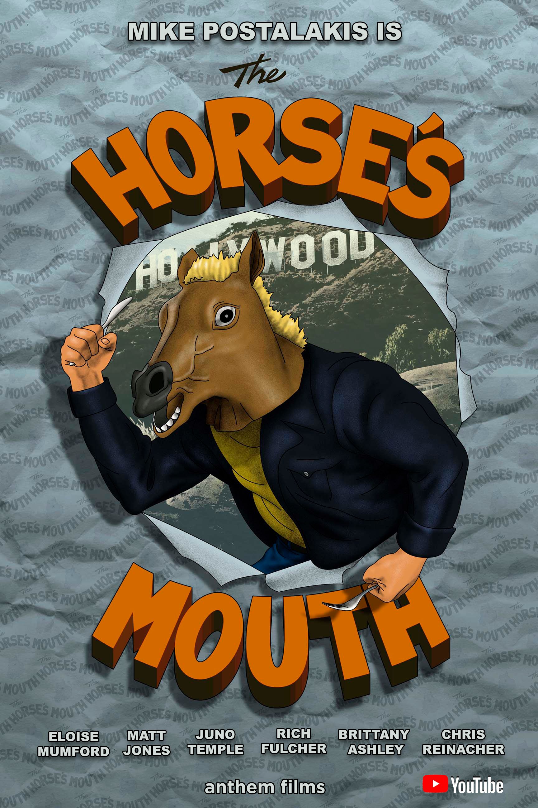 "The HORSE's MOUTH - Fledgling food critic, Mike Postalakis, is writing a book about the Los Angeles food scene, and filming his own food show. The problem is, Mike thinks he needs to wear a horse mask to hide his identity from the people serving him food. The Horse's Mouth is a show with in a show and a show about a show. Mike's girlfriend Eloise becomes dissatisfied with Mike selfishness and obsession over his show. While Mike goes further down the rabbit-hole, and even begins seeing an unknown man in an elephant's mask, he doesn't even notice Eloise drifting away.* * *Written & Created By Mike Postalakis & James GreerDirected By Djay Brawner & Mike PostalakisProduced By Gabriel Younes, May Iosotaluno, DJay Brawner, Mike Postalakis, and Nicole SwedlowOriginal Score By Mark YaegerExecutive Producer DJay BrawnerDirector of Photography Kyle FallonEdited By Chris ""Fleck"" HernandezAn Anthem Films Production"