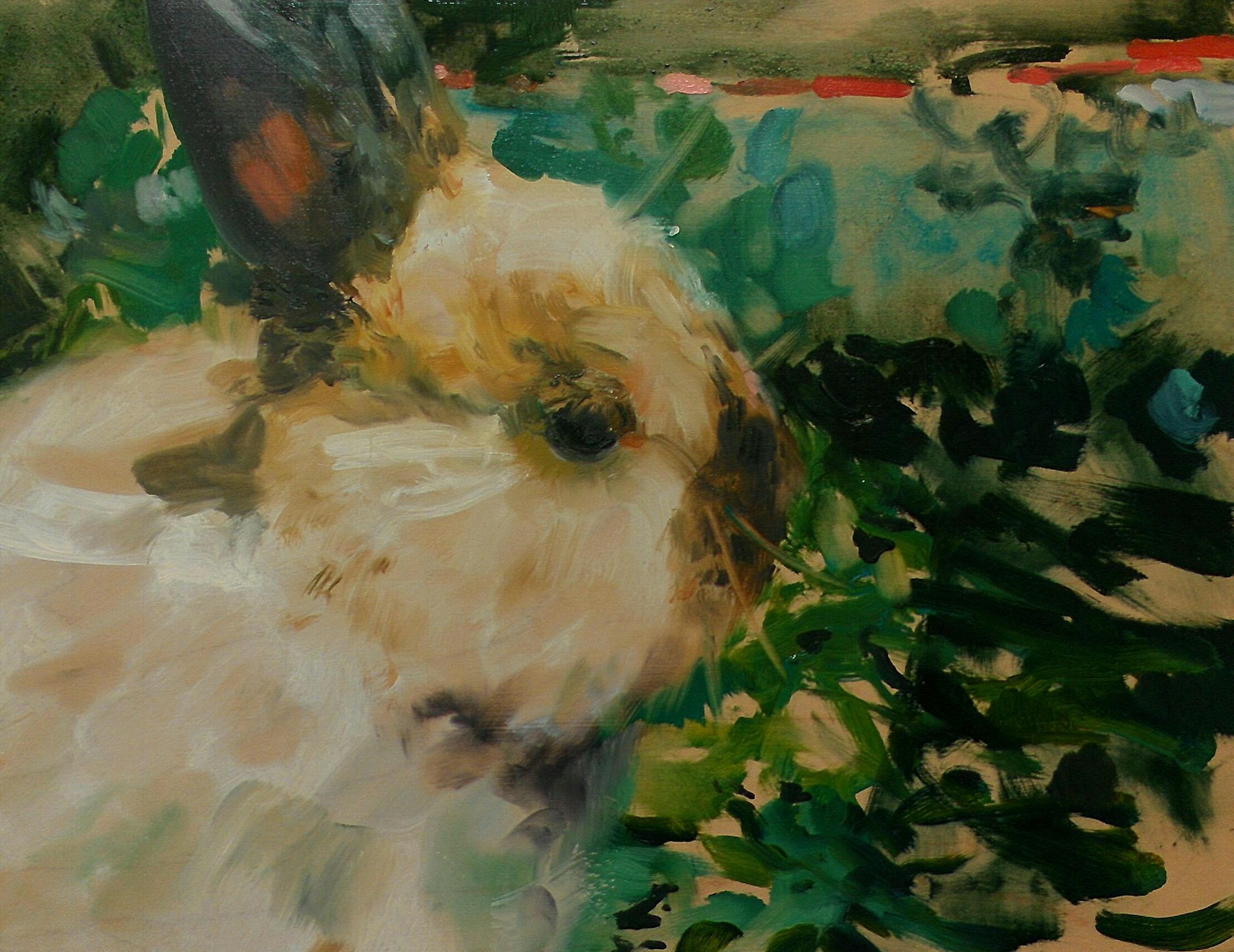 """Ollie"", 2014, Oil on Cradled Maple Panel by Rebecca George. Catalog cover image for ""Have Many Rabbit"" Exhibition, 2014."