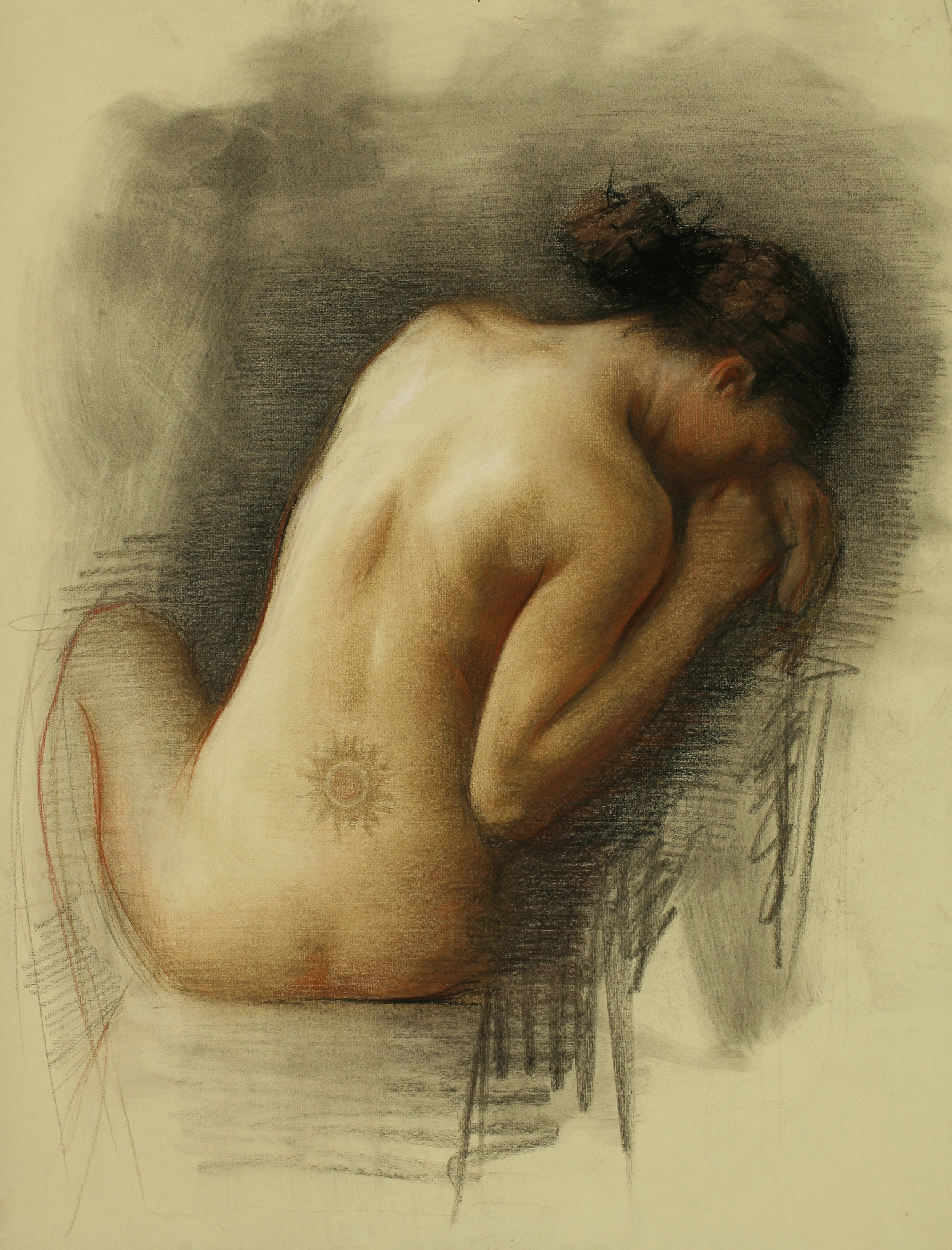 """JulietteAristides_Sun _Sepia Pencil and Charcoal Heightened with White _24x18""""_2013.jpg"""