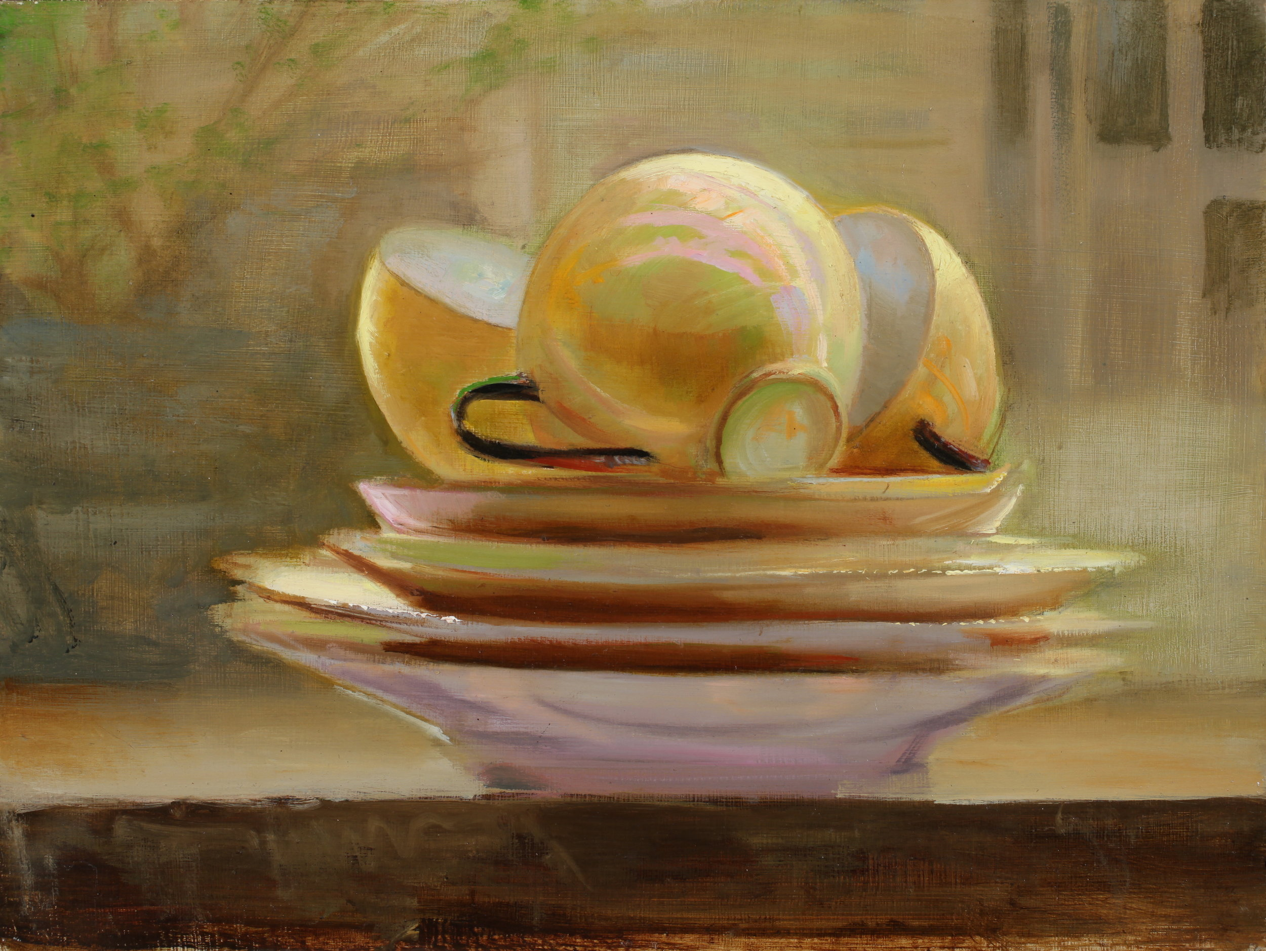 Teacups by Juliette Aristides 2019 oil on panel