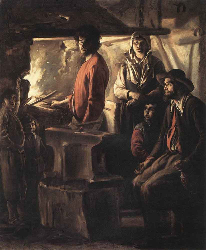 The Blacksmith at his Forge by Louis le Nain