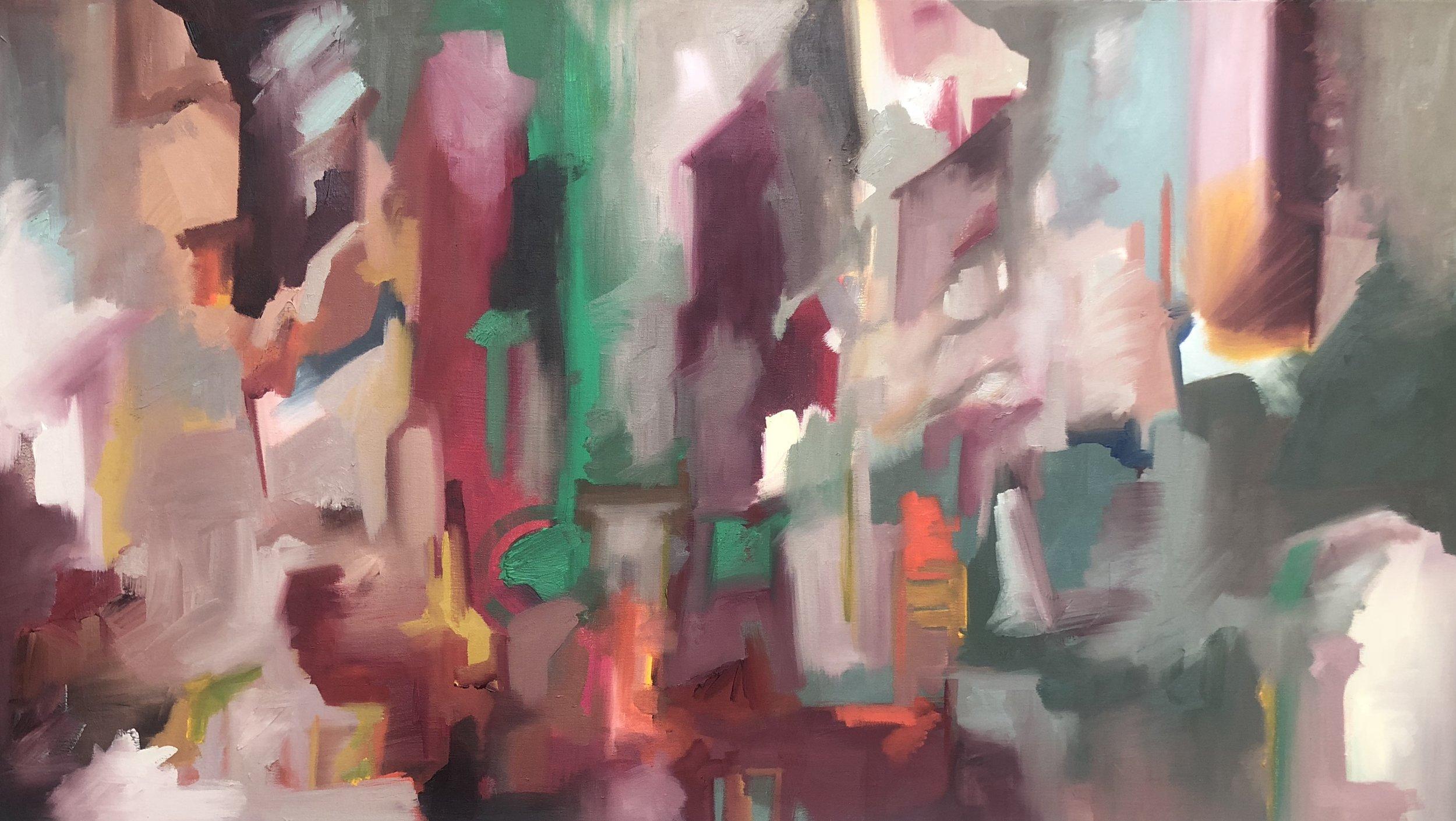 Mementos,  2019. 25 x 46 1/2 in. Oil on Canvas. $750