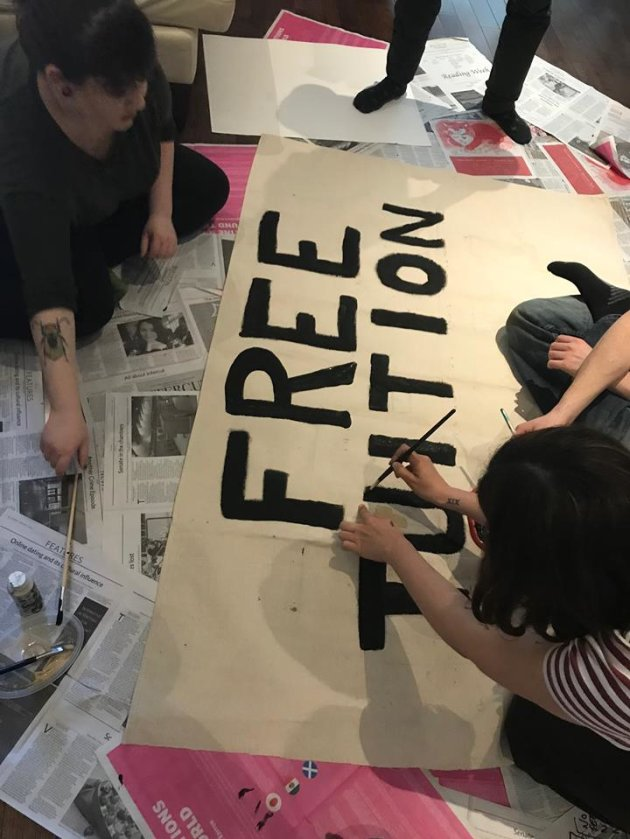 Making our banner for the legislature disruption.