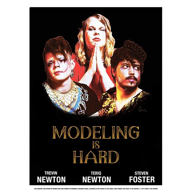NEW Modeling Is Hard movie posters will be available at our show at Hickory Union Moto on 8/2 and our website scruffyandthejanitors.com