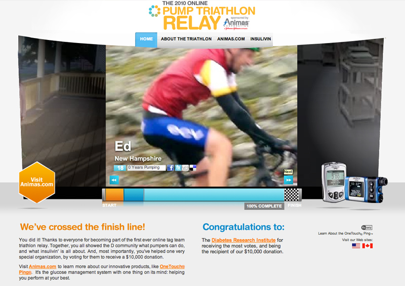 PumpTri Microsite Landing Page of cyclist crossing finish line