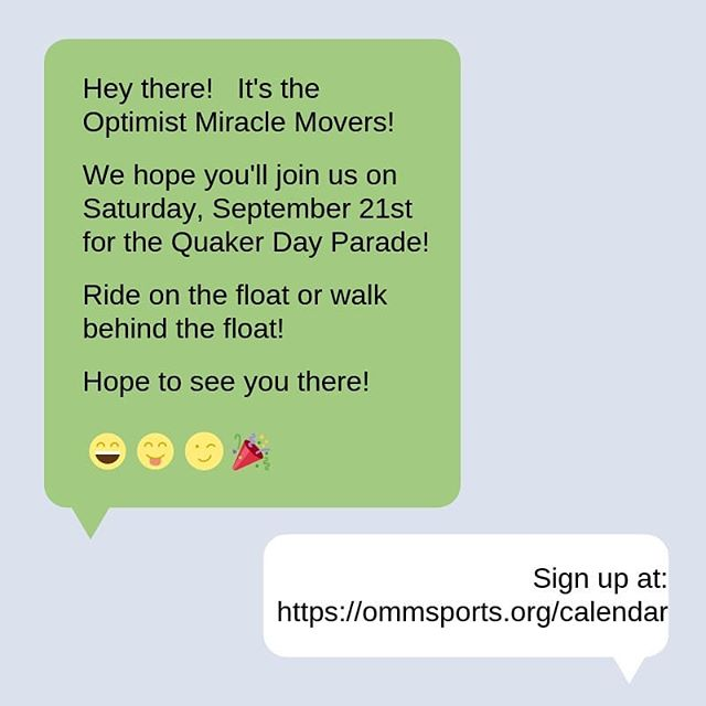 Did you know that @optimist.miracle.movers will be in the Plainfield Quaker Day Parade?!? If you didn't, now you know! If you are an athlete, buddy or fan and can walk/ride with us, we would LOVE to have you join us! Visit our website, under calendar, and sign up today!
