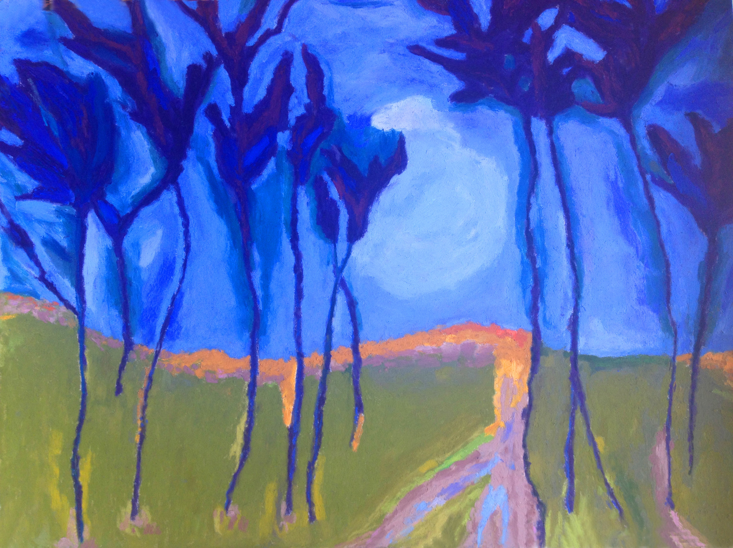 "Blue Trees with Moon, 18x 24"", $600 Sold"