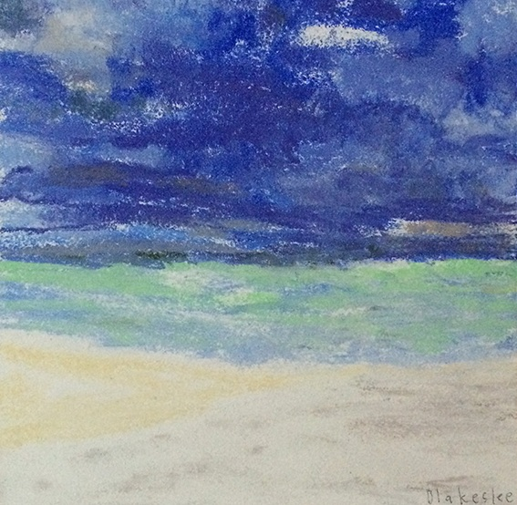 "Gilam Bay, 6x6"", Pastel on Wood, $175 Sold"