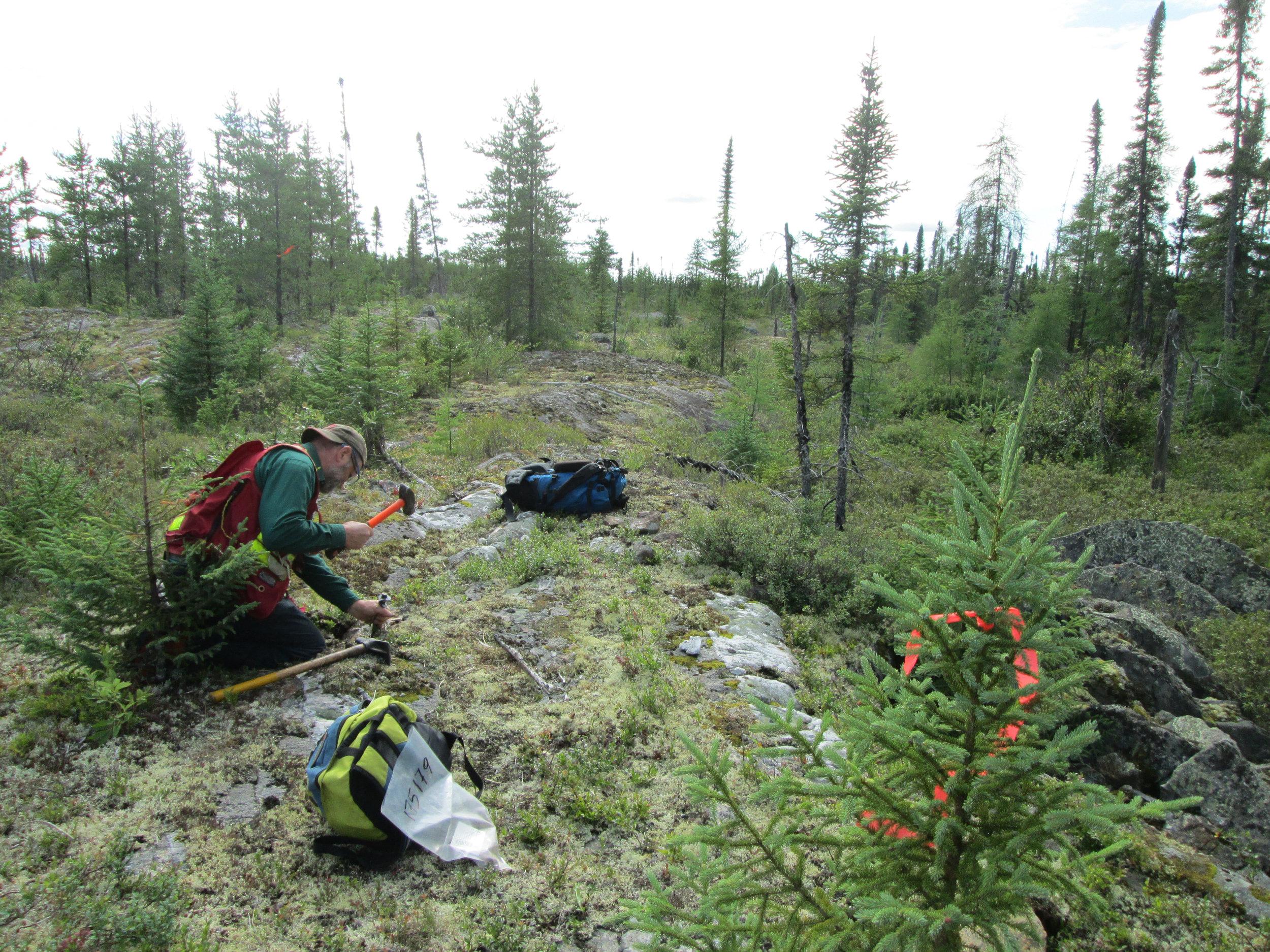 Prospecting the Radisson property.