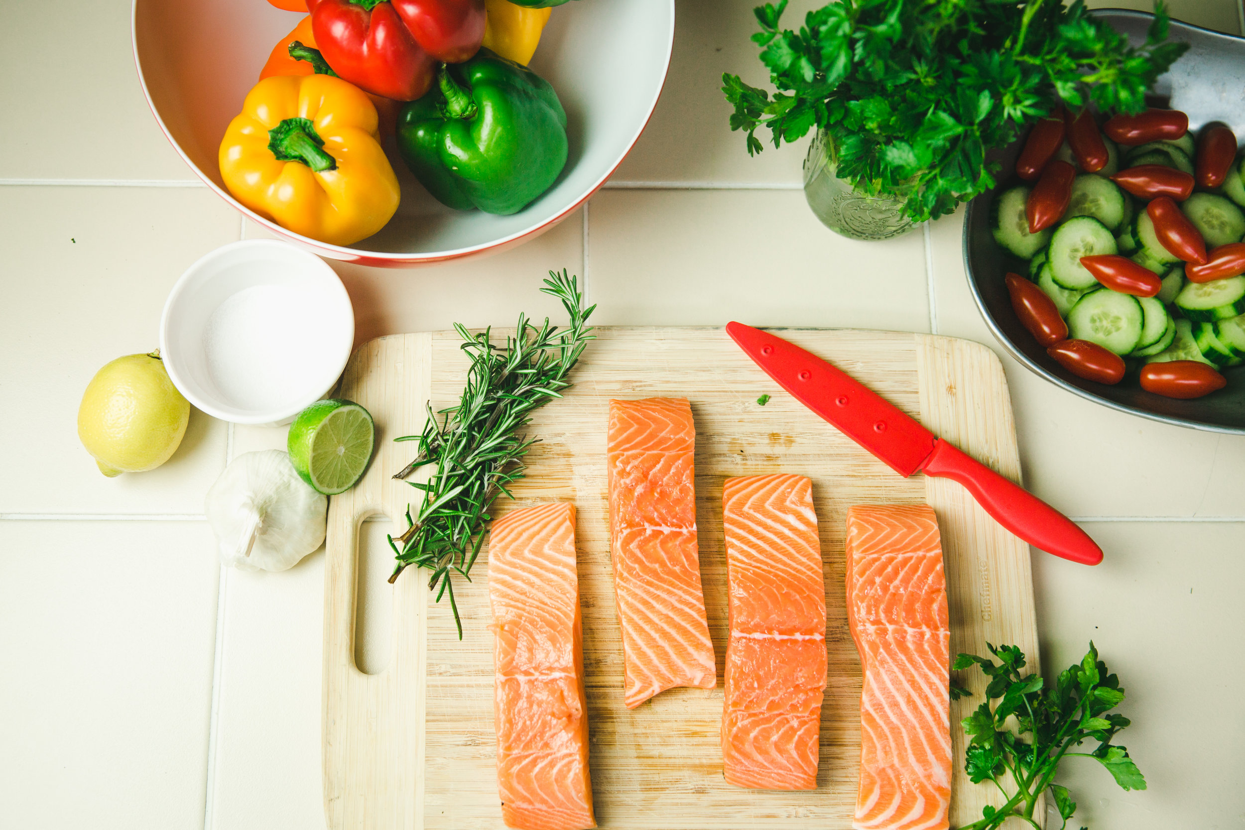 Step 1 - Lay your salmon out on a cutting board