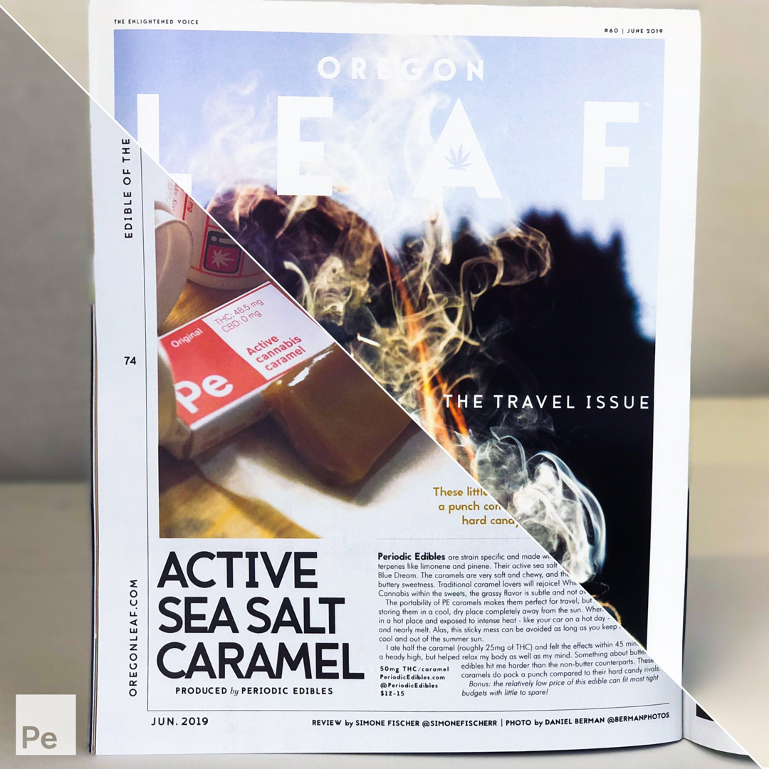 Periodic edibles' Active caramel is selected as Edible of the Month by Oregon Leaf, June 2019