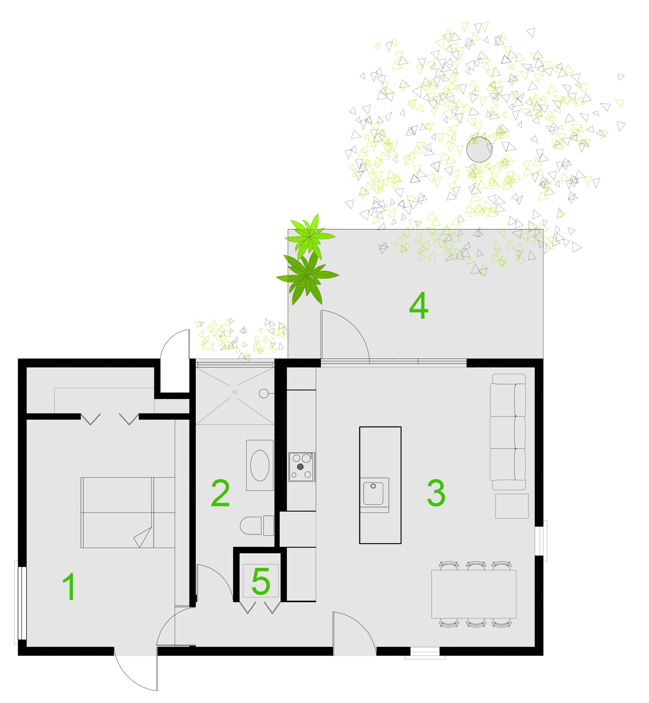 1- BEDROOM . 2- BATHROOM . 3- LIVINGROOM - KITCHEN  4- EXTERIOR DECK . 5- STACKABLE WASHER AND DRYER