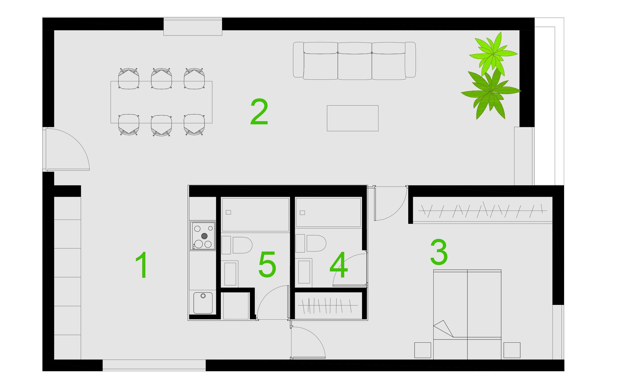1- KITCHEN . 2- LIVINGROOM. 3-BEDROOM  4- BATHROOM1 . 5- BATHROOM2