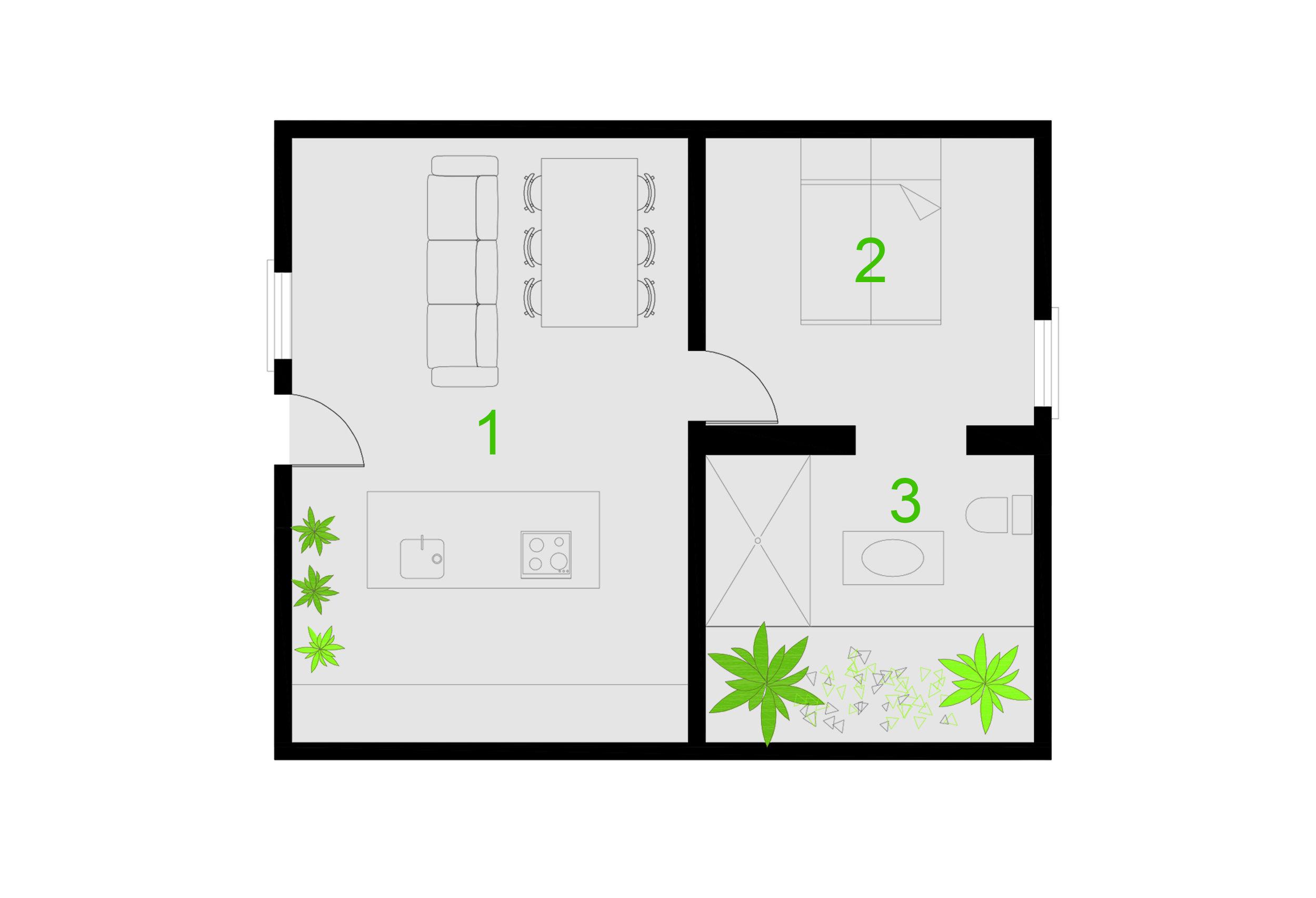 1- KITCHEN+LIVINGROOM. 2-BEDROOM. 3- BATHROOM. 4- INTERIOR GARDEN