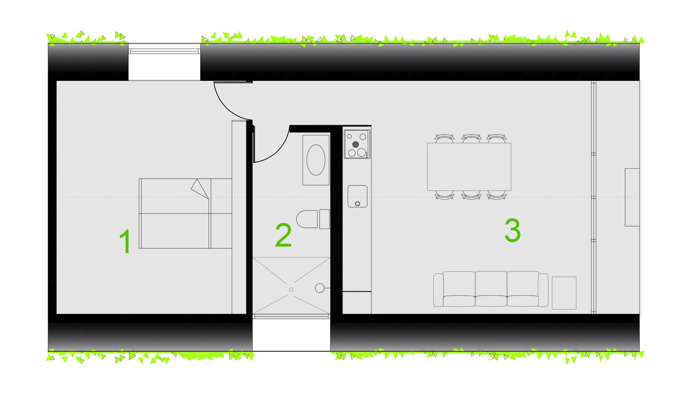 1- BEDROOM . 2-BATHROOM . 3-KITCHEN AND LIVING ROOM