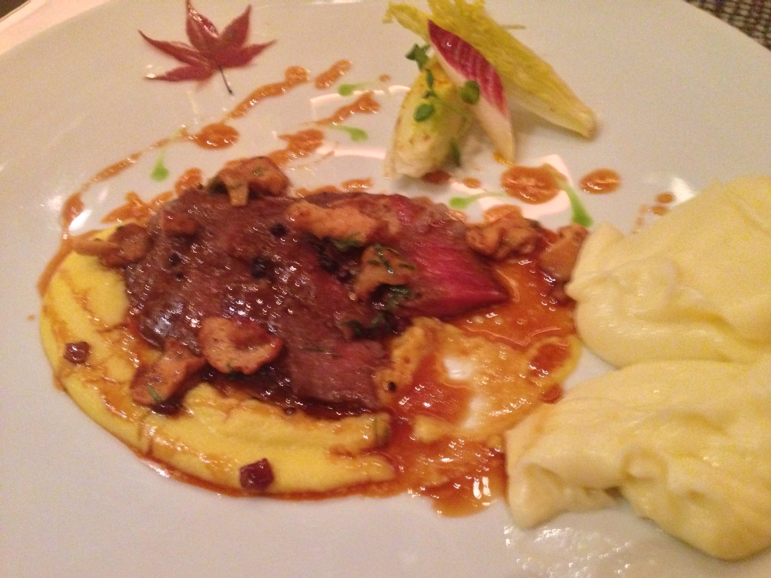 Caramelized Iberico ham, polenta, Belgian endive, mashed potatoes, Joel Robuchon. Photo by Rosemary Nickel, Motivating Other Moms.