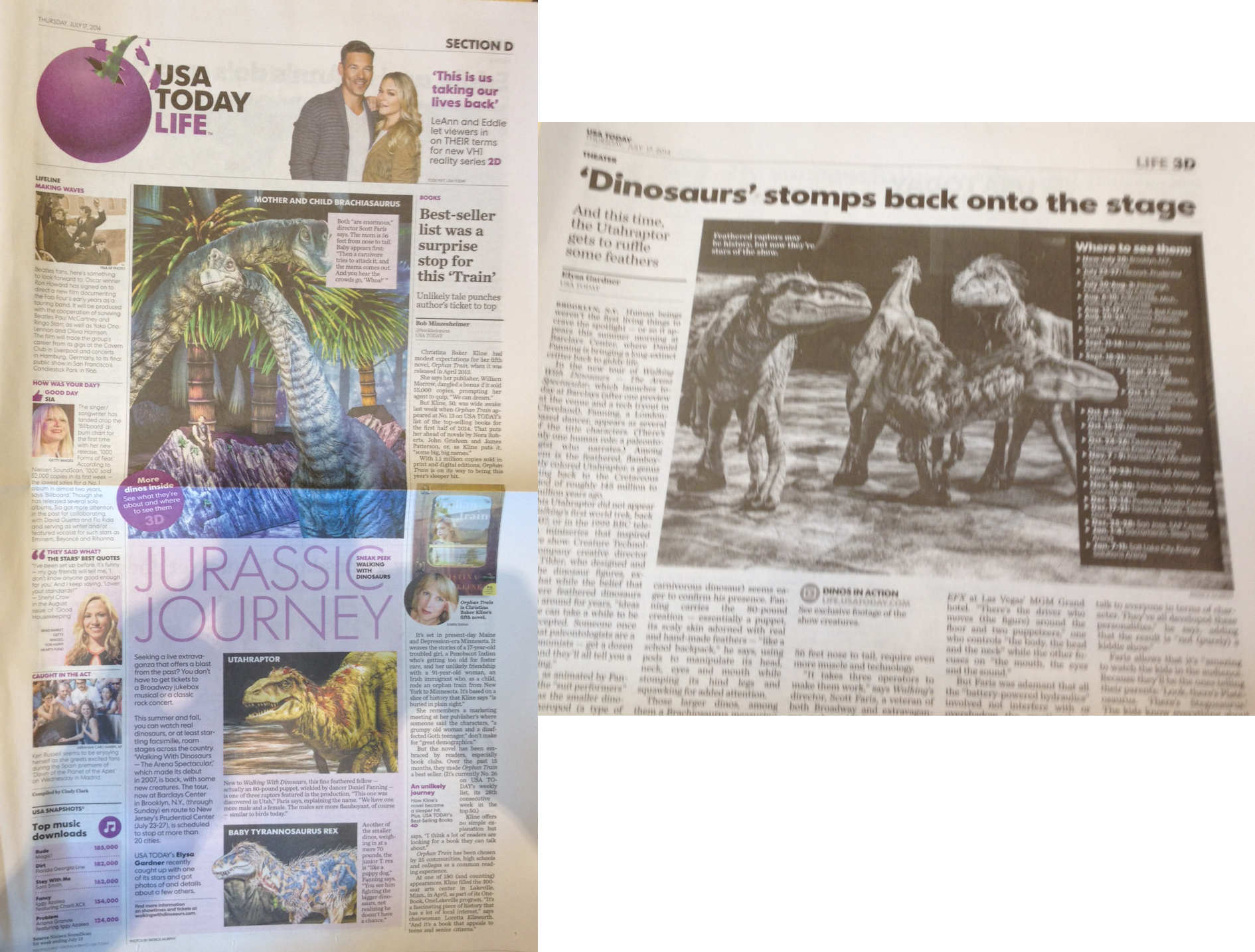 Walking With Dinosaurs-USA Today (Front Page of Life Section)