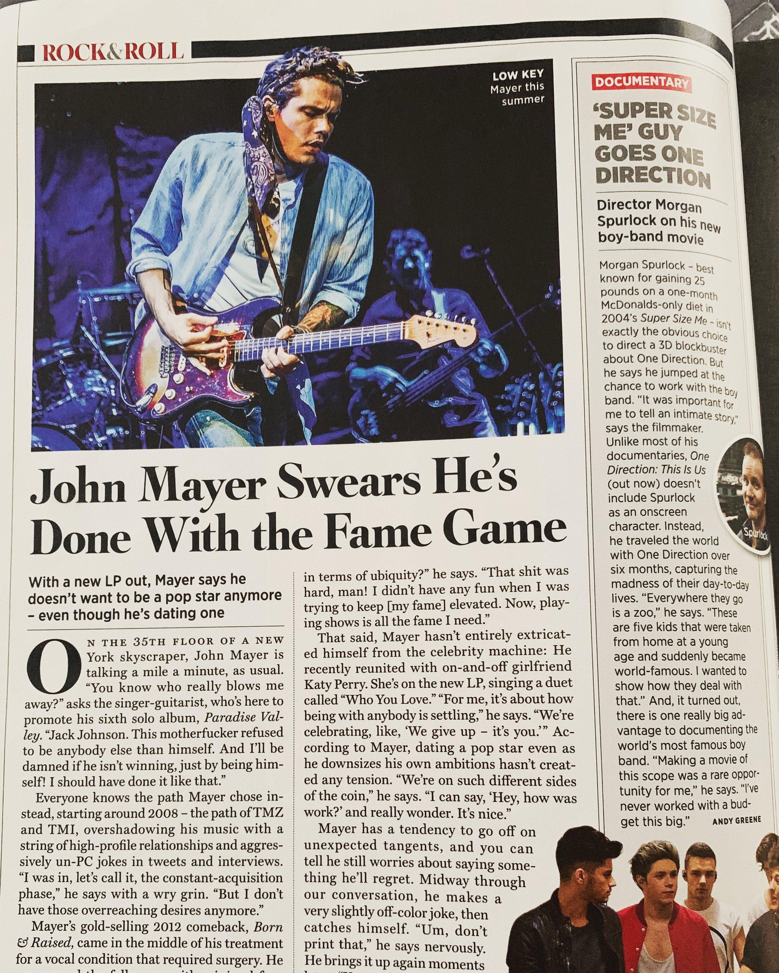 John Mayer-Rolling Stone Magazine