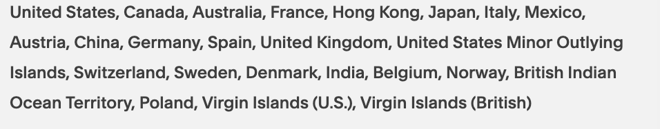Countries our store ships to currently