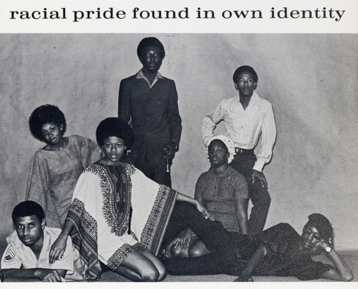 Black UF students pose for a photo in the 1970 university yearbook. The UF African American Studies program was founded in 1969.  Courtesy of the University of Florida Archives, George A. Smathers Libraries