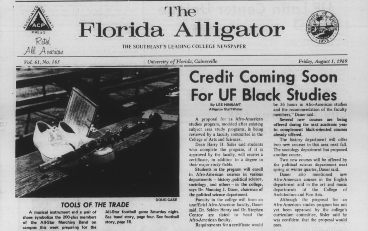 An archival article of The Alligator reports on the proposal for a UF African American Studies program on Aug. 1, 1969.  Courtesy of the University of Florida Archives, George A. Smathers Libraries