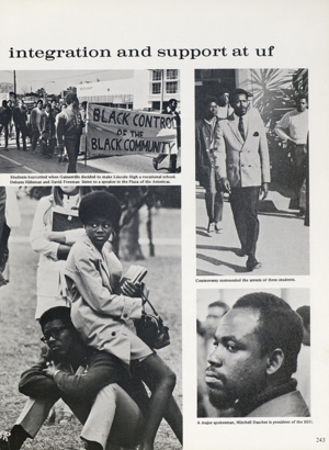 A page in the 1970 UF yearbook dedicated to black students.  Courtesy of the University of Florida Archives, George A. Smathers Libraries