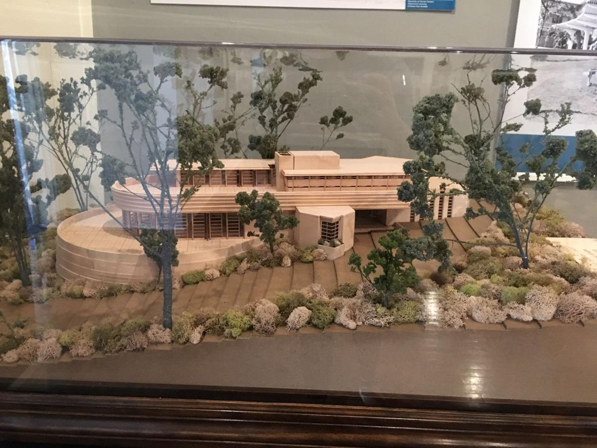 A model of the unbuilt Zeta Beta Tau Fraternity House designed by Frank Lloyd Wright. The design for the house was drawn in 1954 and followed the mid-century style, but due in part to code issues, the house was never built.  Lakshmi Gomez / Alligator Staff