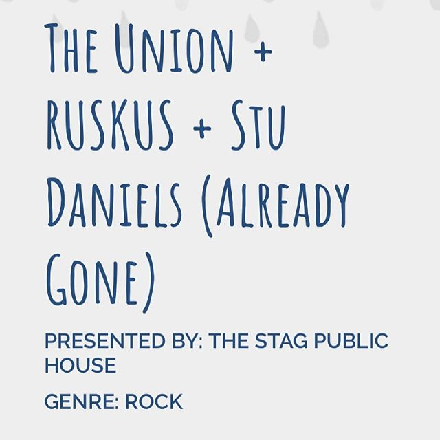 Tonight at @the_stag_public_house with @_ruskus_ and @stu.daniels acoustic. @umbrellaadl @younghenrys