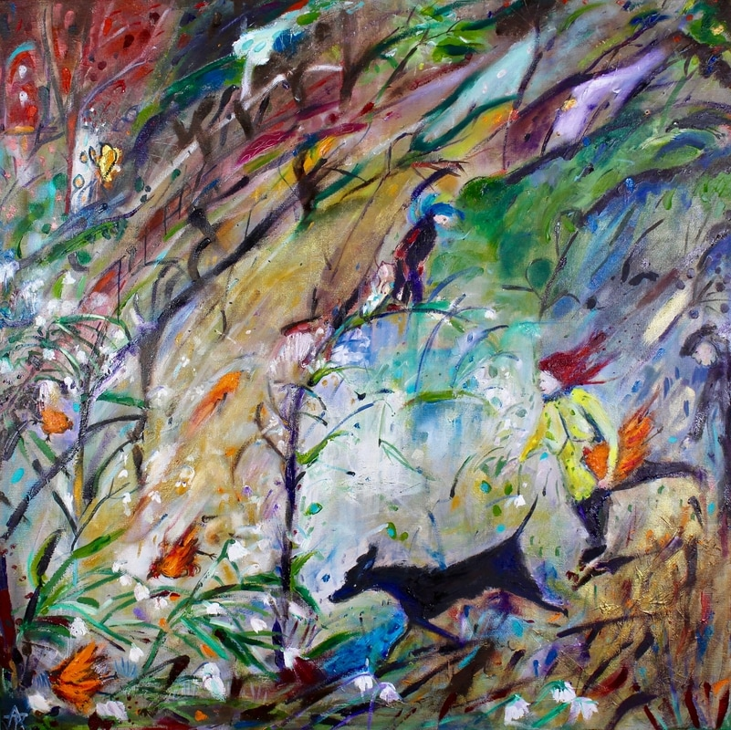 Big Wind and Bowing Trees, oil and mixed media on canvas, 80 x 80 cm