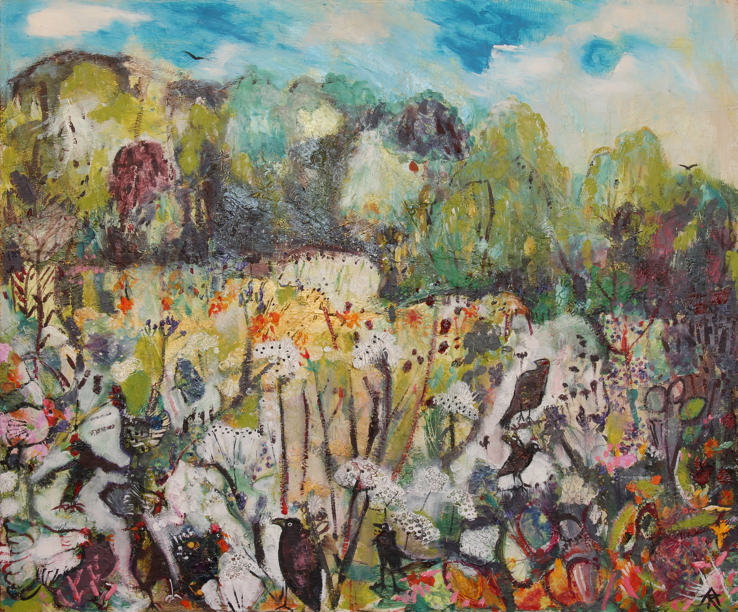 Busy in the Water Meadow, mixed on board, 55 x 65 cm