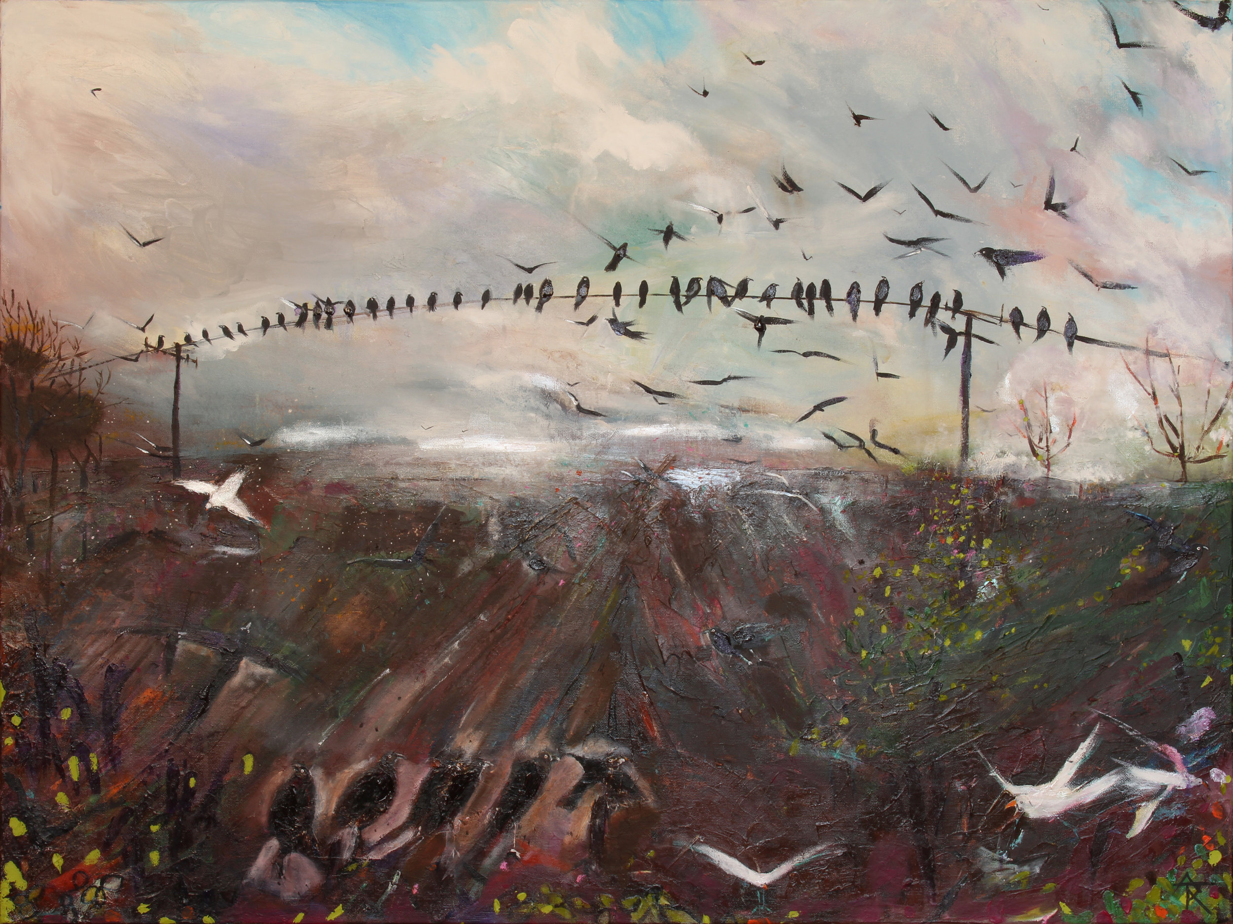 Flight Of The Birds, acrylic on canvas, 82 x 107 cm