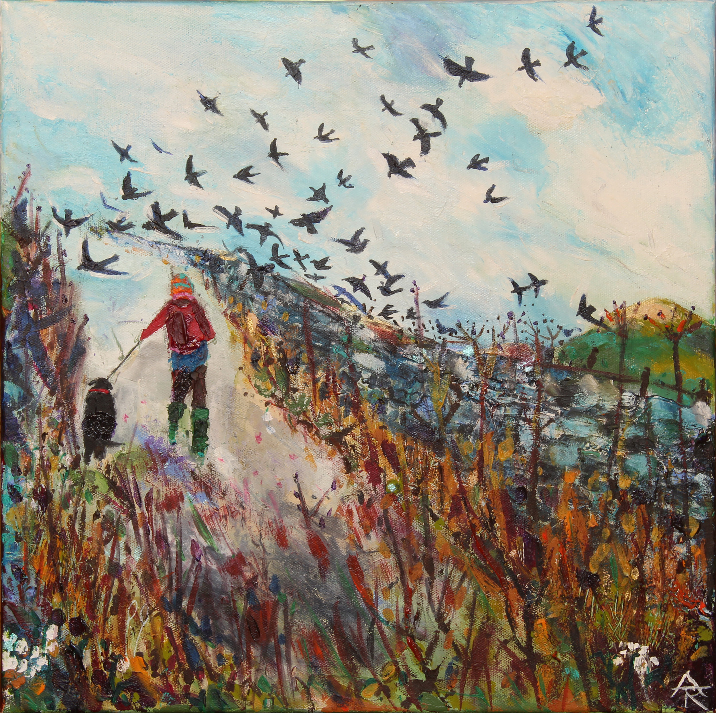 From Over The Wall The Starlings Swooped, acrylic on canvas, 46 x 46 cm