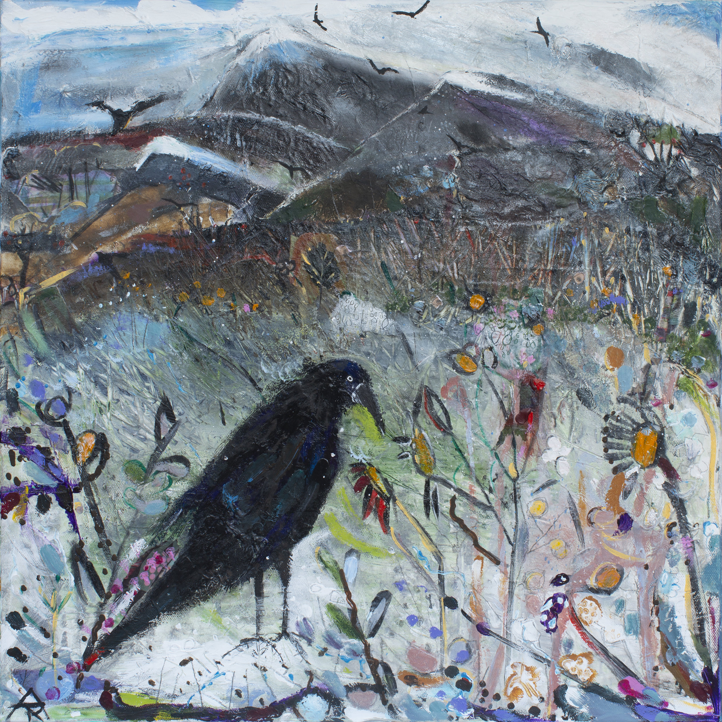 Old Crow With Many A Tale, acrylic and mixed on canvas, 56 x 56 cm