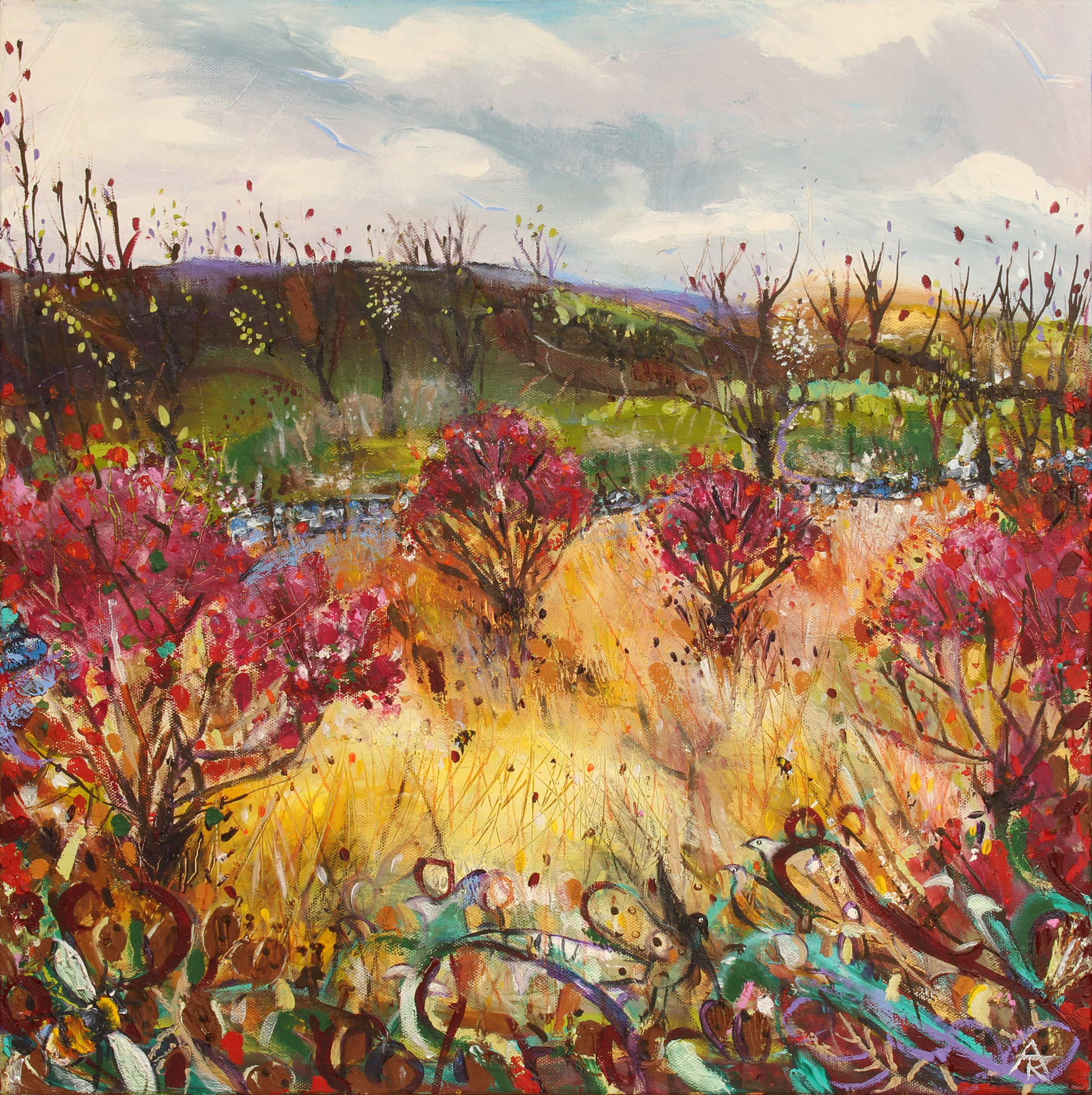 The Hum Of The Bumble In The Red Flowering Currants, acrylic on canvas, 56 x 56 cm